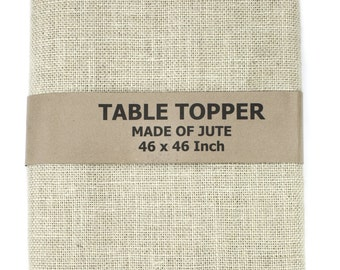 "Ivory Burlap Table Topper 48""x48"" with fringe, fine weave, rustic country weddings, home decor. Available in other colors.(BF-T02)"