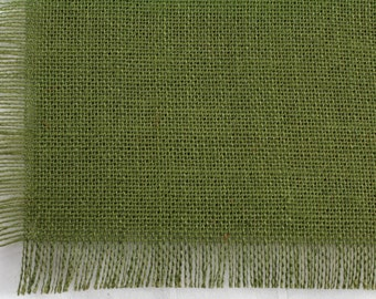 """Olive Green Burlap Table Topper 48""""x48"""" with fringe, fine weave, rustic country weddings, home decor. Available in other colors.(BF-T09)"""
