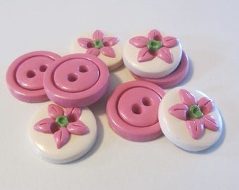Pink Posy Buttons ~ Set of 8