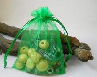 25 Organza Bags 3.5x4.5, Green Organza Bag,Gift Bag, Drawstring Bag, Sheer Organza,Favor Bag,Supplies,Sheer Bag,Jewelry Bag,Organza