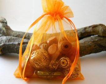 25 Organza Bags 3.5x4.5, Orange Organza Bag,Gift Bag, Drawstring Bag, Sheer Organza,Favor Bag,Supplies,Sheer Bag,Elegant Jewelry Bag,Organza