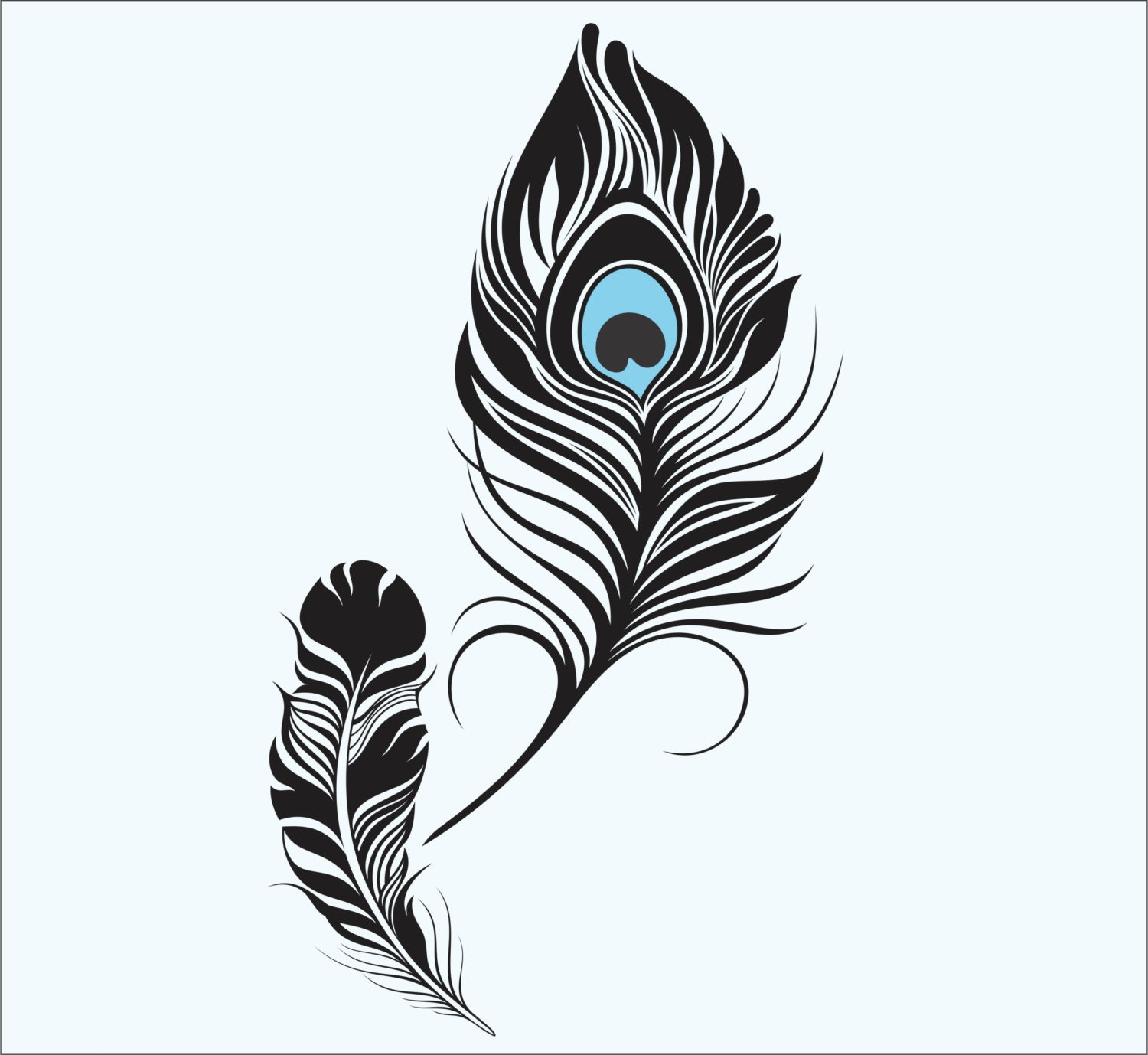 feather wall decal peacock feather vinyl sticker decals art. Black Bedroom Furniture Sets. Home Design Ideas