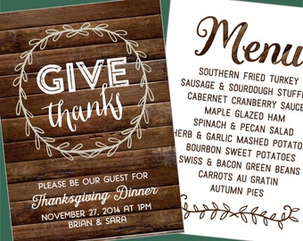 GIVE THANKS Thanksgiving Woodsy Invitation and Menu - Printable