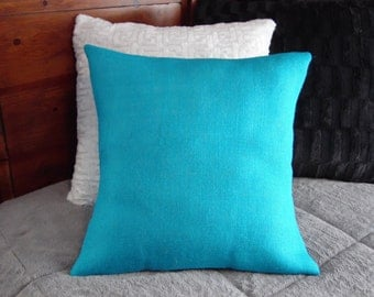 Custom made rustic country turquoise blue burlap pillow cover/sham. Multiple sizes to choose from.