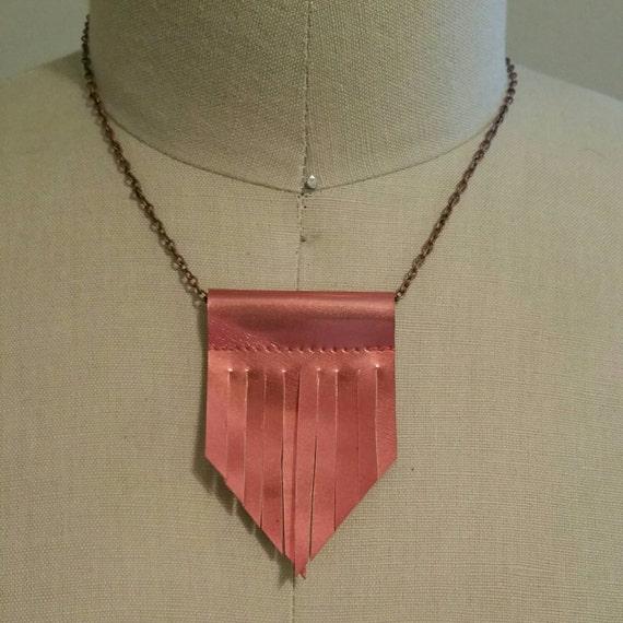 Patent Leather Fringe Necklace Short