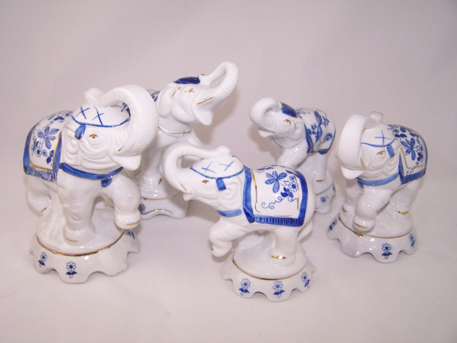 Vintage Porcelain Elephant Family Figurines By