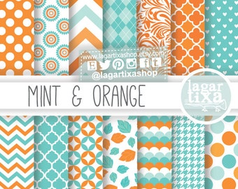 Teal, Orange, Coral, aqua, mint, Turquoise, Digital Paper, background, textures, patterns, chevron, damask, by Lagartixa