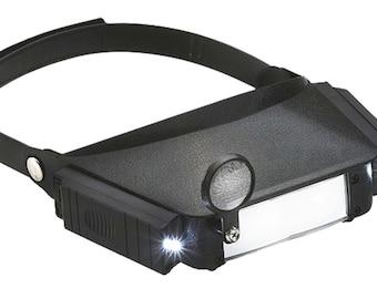 Multi-power Illuminated LED  Head Magnifier Fixed and Flip Lens Loupe