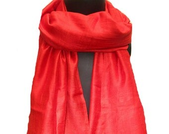 SALE! was 16 USD now.......Red scarf, lace scarf, silk scarf.Gift ideas.