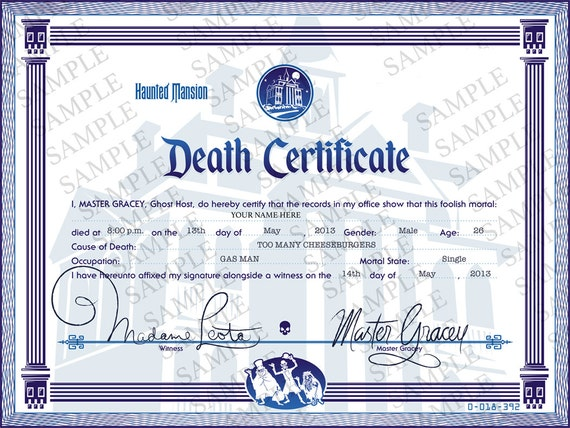 Disney Haunted Mansion Death Certificate Digital File