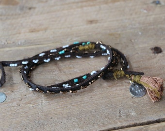 Dark Brown Leather Wrap- Turquiose and White