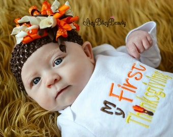 My First Thanksgiving Baby Girls Outfit - Fall Thanksgiving Korker Hair Bow - Thanksgiving Shirt Or Bodysuit - Girls First Thanksgiving