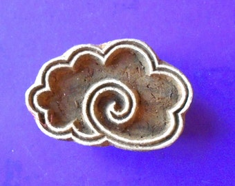 ON SALE Cloud Stamp Hand Carved Wood Indian Print Block