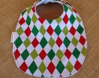 Baby Feeding Bib - Christmas Diamonds (Clearance)