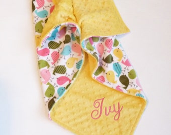 Personalized Double Sided Minky Baby Blanket or Lovey -  Baby Girl - Custom Made - Urban Zoologie Chick Front, You Choose Back Minky Color