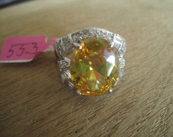 Hallmarked Silver Plated Yellow CZ Ring  Size 8.25 (553)