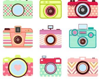 "Cute Camera Clip Art ""CAMERA CLIP ART"" Retro Digital Cameras.Photography ClipArt.Camera elements.Colorful Cameras.Png Cameras.Commercial Use"