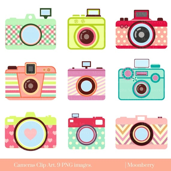 Cute Camera Clip Art CAMERA CLIP ART Retro Digital
