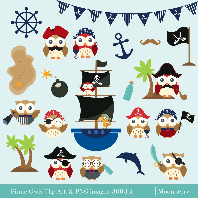 Pirate Owls Clip Art. Owl Elements Pirate Elements Pirate