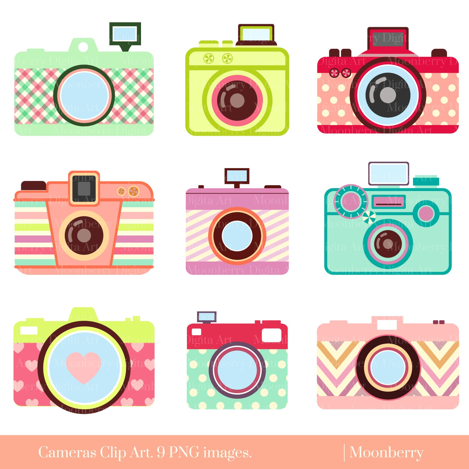 Clip Art Vintage Camera Clip Art camera clip art etsy cute retro digital cameras photography clipart elements colorful png commercial use