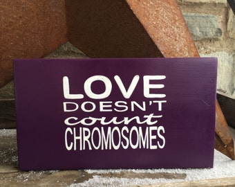 Love doesn't count chromosomes | Hand painted | wooden sign | Down Syndrome | Chromosome disorder | Special Needs | Family | Love | Special