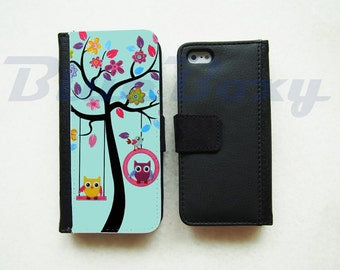 Little Owls on Tree Flip Case for iPhone X, iPhone 8, iPhone 7/7 Plus, iPhone 6/6s, iPhone 6 Plus, iPhone 5/5s, iPhone 4/4s, Leather Case