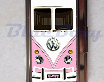 Mini Bus Pink - Card Holder, Business Card Case, Credit Card Case