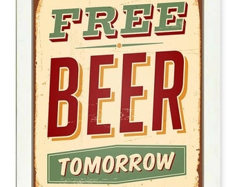 Vintage Retro Free Beer Tomorrow Art Print Beige Brown Yellow Green Red Home Kitchen Wall Decor Restaurant Bar Poster Sign