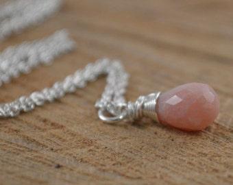Pink Opal Sterling Silver Necklace, Faceted Briolette, October Birthstone, Opal Gemstone, Pink Gemstone, Natural Gemstone, Gemstone Necklace