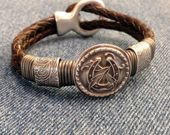 Lucky Silver and Leather Horseshoe Bracelet