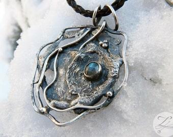 Unique Magic Fantasy Sterling Silver Pendant with Labradorite - Full Moon