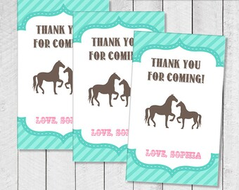 Pink vintage horse pony party adoption certificate printable vintage horse pony hot pink and aqua favor thank you tags personalized digital labels yadclub Gallery