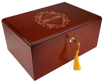 The Milano 75-100 Cigar Personalized Humidor, Customized Wedding Gift, [DEC001]
