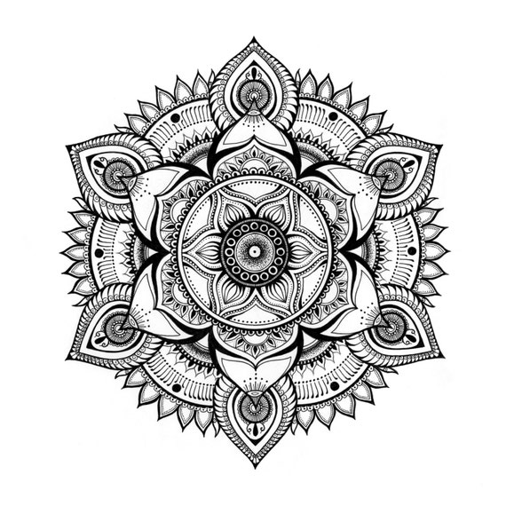 items similar to black and white hand drawn mandala prana on etsy. Black Bedroom Furniture Sets. Home Design Ideas