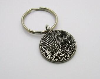 Fingerprint Keychain, Personalized Keychain, Rustic Keychain, Rugged Keychain, Gift for Men, Gift for Women, Metal Keychain, Dark Metal