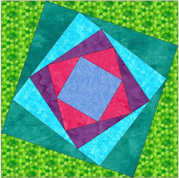 Paper Piecing Quilt Patterns Log Cabin : Tilted Spiral 4 Log Cabin Paper Foundation Quilting Block