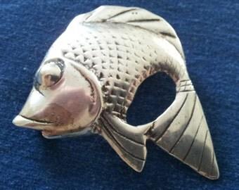 Vintage Sterling Fish Brooch Pin