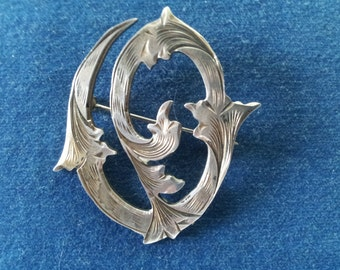 """Vintage Etched Sterling Initial """"O"""" Brooch Pin from Mexico"""