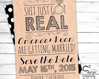 Sh!t Just Got Real Save the Date Card