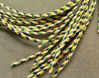 Bolo Tie Cord, Bright Green, Chartreuse, White and Black , 36 inches long BBTC2