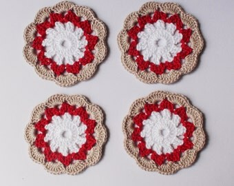 Crochet Coasters in Beige Red White, Home decor, Colorful coaster, Housewares , Table decor , Handmade coasters