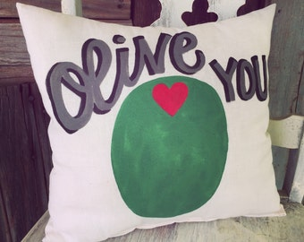 Olive You Linen Pillow