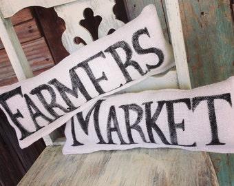 Farmers Market White Burlap Pillow Set