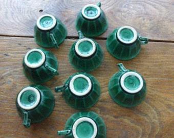"9 cups in ceramics green vintage 1950 mark ""VOLCAN"" collector"