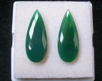 30x12 mm pear pair NATURAL genuine GREEN ONYX briolette checker pair rose cut flat gemstone.....