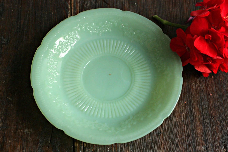 Vintage Jadite Saucer Small Jadeite Plate Floral Jadeite