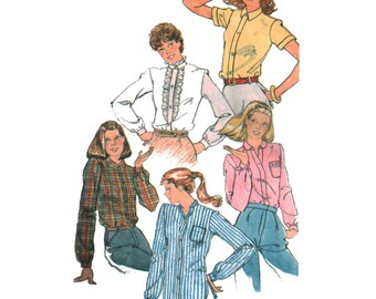 Simplicity Sewing Pattern 5208 Young Junior/Teen set of Shirts  Size:  5/6 & 7/8  Used