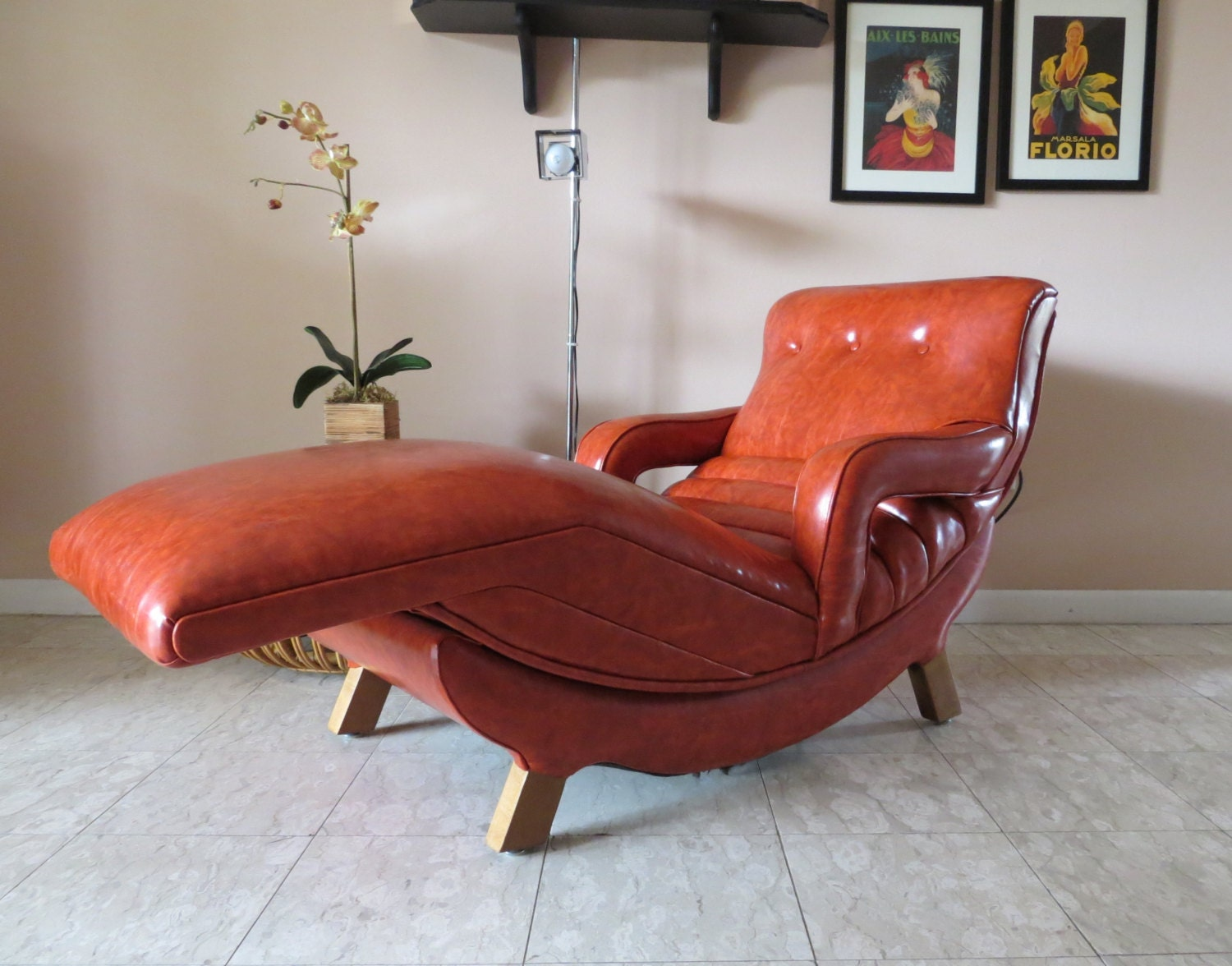Mid Century Modern Contour Lounge Chair Reclining Massage