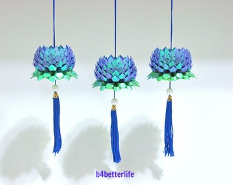 Lot of 3pcs Size Small Dark Blue Color Origami Hanging Lotus. (TX paper series).