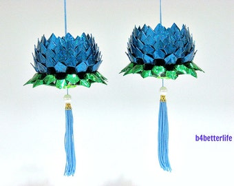 A Pair Of Blue Color Medium Size Origami Hanging Lotus. (4D Glittering paper series). #FLT-46.
